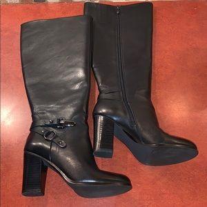 TAHARI Black Leather knee high Felix boots 6.5 WC